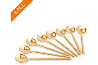 (Gold) - Demitasse Espresso Spoons Set of 8, Gold Mini Coffee Spoons 13cm 18/10 Stainless Steel, Small Spoons set for Rest Coffee,Sugar,Tea,Ice Cream,Dessert, Appetiser by Lumon