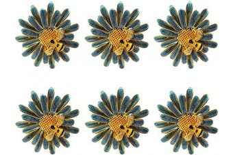 (Blue) - Joyindecor Daisy Flower Napkin Rings - Set of 6 Metal Bee Napkin Holders for Wedding Party and Daily Use, a Beautiful Complement to Your Dinner Table Décor (Blue