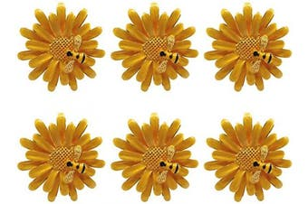 (Yellow) - Joyindecor Daisy Flower Napkin Rings - Set of 6 Metal Bee Floral Napkin Ring Holders for Holiday Wedding Party and Daily Use, Beautiful Home Kitchen and Table Accessories (Yellow)