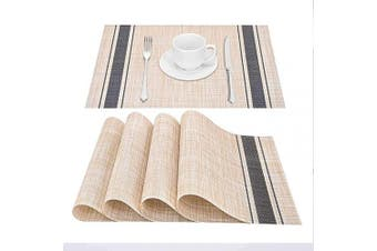 GIVERARE Placemats Set of 4, Heat-Resistant Woven Vinyl Placemat, Non-Slip Washable PVC Table Mat, Easy to Clean Premium Plastic Table Mats for Dining Table, Kitchen Table (Blue)