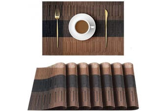 (Brown) - UMORNING Vinyl Woven Placemat Non-Slip Place Mats Stain-Resistant Dining Table Mats Decor PVC Brown-Black Set of 8