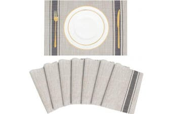 (Grey) - UMORNING Placemat for Dinning Table Crossweave Woven Vinyl Non-Slip Insulation Place mat Washable Easy to Clean PVC Placemats for Kitchen Table Decoration 30cm x 46cm Grey Set of 8