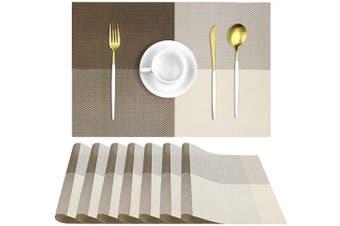 (Khaki) - UMORNING Placemats Washable Kitchen Table Place Mat Stain-Resistant Cross Weave Woven Vinyl Table Mats (Set of 8, Khaki)