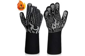 (Medium, Grey) - BBQ Gloves, 1472°F Heat Resistant Grilling Gloves Silicone Non-Slip Oven Gloves Long Kitchen Gloves for Barbecue, Cooking, Baking, Welding, Cutting (M, Grey)