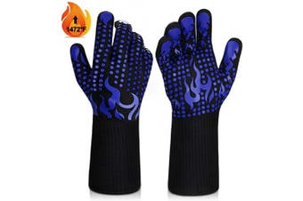 (Medium, Blue) - BBQ Gloves, 1472°F Heat Resistant Grilling Gloves Silicone Non-Slip Oven Gloves Long Kitchen Gloves for Barbecue, Cooking, Baking, Welding, Cutting (M, Blue)