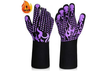 (Medium, Purple) - BBQ Gloves, 1472°F Heat Resistant Grilling Gloves Silicone Non-Slip Oven Gloves Long Kitchen Gloves for Barbecue, Cooking, Baking, Welding, Cutting (M, Purple)