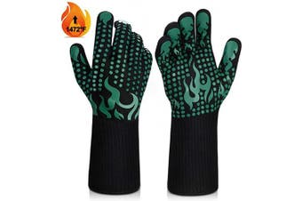 (Medium, Green) - BBQ Gloves, 1472°F Heat Resistant Grilling Gloves Silicone Non-Slip Oven Gloves Long Kitchen Gloves for Barbecue, Cooking, Baking, Welding, Cutting (M, Green)