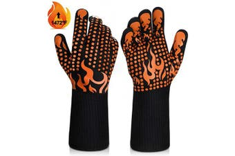 (Medium, Orange) - BBQ Gloves, 1472°F Heat Resistant Grilling Gloves Silicone Non-Slip Oven Gloves Long Kitchen Gloves for Barbecue, Cooking, Baking, Welding, Cutting (M, Orange)