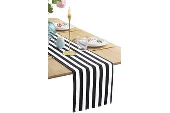 (30cm  X 120cm ) - BOXAN Classic Black and White Striped Table Runner, Modern Stripes Pattern Elegant Cotton Canvas Table Top Decor for Art Deco Wedding, Bridal Shower, Bachelorette Party Decorations, 30cm X 120cm