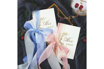 (Vow Books With Ribbon) - AKITSUMA Wedding Vow Books, His and Her Vow Keepsake with Ribbon Bow Knot, Set of 2 (Vow Books with Ribbon)