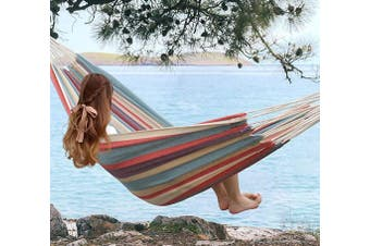 (Hammock only, Tropical) - SUNLAX Brazilian Double Cotton Hammock No Stand - Two Person Bed for Backyard, Porch, Outdoor and Indoor Use - Soft Woven Cotton Fabric, Tropical