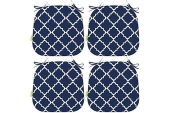 """LVTXIII Indoor Outdoor Seat Cushions, All Weather Patio Accent U-Shape Chair Pads 16"""" x 17"""" for Garden Patio Furniture Home Office Decoration Set of 4 – Geomentry Navy"""