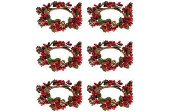 (6 Set) - Alphatool Set of 6 Christmas Candle Ring- Red Artificial Berry Candle Rings with Pinecones Small Wreaths for Pillar Candle Rustic Wedding Centrepiece and Christmas Holiday Table Decoration (ID 7.6cm )
