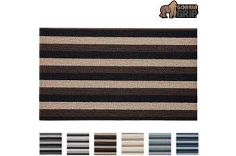 (80cm  x 44cm , Black / Brown / Beige) - Gorilla Grip Premium Loop Doormat, 30x17.5, Soft Decorative Striped Scraper Door Mats, Durable Backing, Heavy Duty Tufted Bristles Mat for Indoor and Outdoor Entrance, Easy Clean, Black Brown Beige