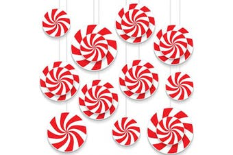 Blulu 18 Pieces Peppermint Cutouts Candy Wall Cut Outs for Christmas Party Home Decoration Supplies
