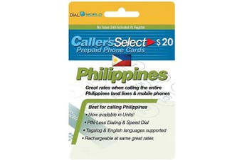 $20 Caller's Select Philippines Phone Calling Card Calls to The Philippines. Get up to 360 Units to Call Filipino Landlines and 280 Units to Call Cellphones.