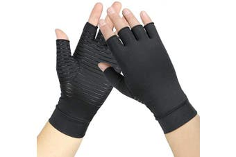 (S) - Copper Compression Arthritis Gloves Relieve Joint Pain from Rheumatoid, Osteoarthritis, Carpal Tunnel, Swelling - Fingerless Hand Gloves for Typing and Dailywork, Unisex (S)