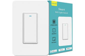 (Single Pole Smart Switch 1 gang) - Smart Light Switch, Aleath Smart Switch, 2.4Ghz WiFi Light Switch - Neutral Wire Needed, Compatible with Alexa, Google Assistant and IFTTT, Timer and Remote Control - Single Pole Smart Switch 1 Gang