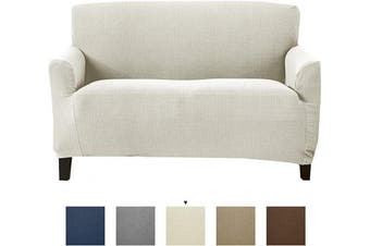 (Love Seat, Ivory) - Textured Stretch Loveseat Slipcover. Form Fit, Slip Resistant, Strapless Slipcover. Knitted Jacquard Stretch Love Seat Slipcover. Theo Collection (Love Seat, Ivory)