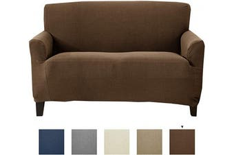 (Love Seat, Chocolate) - Great Bay Home Textured Stretch Loveseat Slipcover. Form Fit, Slip Resistant, Strapless Slipcover. Knitted Jacquard Stretch Love Seat Slipcover. Theo Collection (Love Seat, Chocolate)