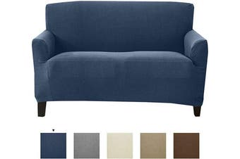 (Love Seat, Navy) - Textured Stretch Loveseat Slipcover. Form Fit, Slip Resistant, Strapless Slipcover. Knitted Jacquard Stretch Love Seat Slipcover. Theo Collection (Love Seat, Navy)