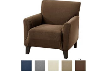 (Chair, Chocolate) - Great Bay Home Textured Stretch Chair Slipcover. Form Fit, Slip Resistant, Strapless Slipcover. Knitted Jacquard Stretch Arm Chair Slipcover. Theo Collection (Chair, Chocolate)