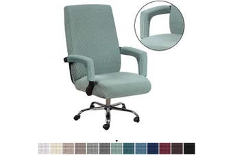 (Medium, Sage) - H.VERSAILTEX Office Chair Covers with Armrest Covers Soft Spandex Chair Cover Upgraded Zipper Furniture Protector Rich Textured Small Cheques Knitted Jacquard Chair Covers, Medium, Sage