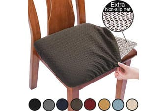 (4pcs, Brown) - BUYUE Chair Covers for Dining Room Washable Jacquard Stretch Slipcover Kitchen Seat Cushions Protector for Upholstered Chair - Set of 4, Brown