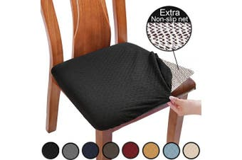 (4pcs, Black) - BUYUE Chair Covers for Dining Room Washable Jacquard Stretch Slipcover Kitchen Seat Cushions Protector for Upholstered Chair - Set of 4, Black