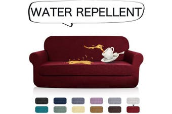 (Sofa, Wine Red) - AUJOY Stretch 2-Piece Sofa Covers Water-Repellent Dog Cat Pet Proof Couch Slipcovers Protectors (Sofa, Wine Red)