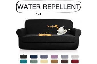 (XL Sofa, Black) - AUJOY Stretch 2-Piece Sofa Covers Water-Repellent Dog Cat Pet Proof Couch Slipcovers Protectors (XL Sofa, Black)