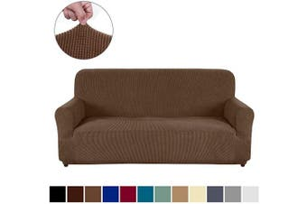 (XL Sofa, Light Coffee) - AUJOY Couch Cover Stretch 1-Piece Oversized Sofa Slipcover Jacquard Spandex Fabric Furniture Protector with Anti-Slip Foams (XL Sofa, Light Coffee)