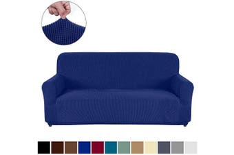 (Sofa, Navy Blue) - AUJOY Couch Cover Stretch 1-Piece Sofa Slipcover for 3 Cushion Couch Jacquard Spandex Fabric Furniture Protector with Anti-Slip Foams (Sofa, Navy Blue)