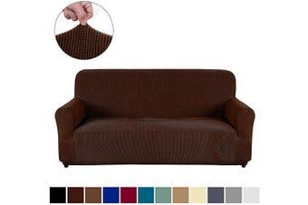 (XL Sofa, Dark Coffee) - AUJOY Couch Cover Stretch 1-Piece Oversized Sofa Slipcover Jacquard Spandex Fabric Furniture Protector with Anti-Slip Foams (XL Sofa, Dark Coffee)