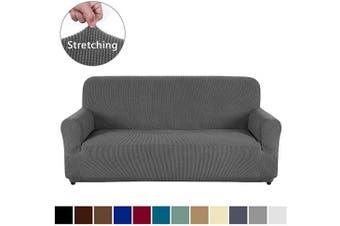 (Sofa, Dark Gray) - AUJOY Couch Cover Stretch 1-Piece Sofa Slipcover for 3 Cushion Couch Jacquard Spandex Fabric Furniture Protector with Anti-Slip Foams (Sofa, Dark Grey)