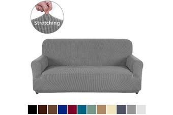 (Sofa, Light Gray) - AUJOY Couch Cover Stretch 1-Piece Sofa Slipcover for 3 Cushion Couch Jacquard Spandex Fabric Furniture Protector with Anti-Slip Foams (Sofa, Light Grey)