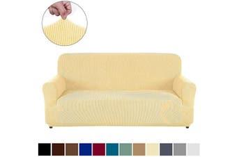 (XL Sofa, Beige) - AUJOY Couch Cover Stretch 1-Piece Oversized Sofa Slipcover Jacquard Spandex Fabric Furniture Protector with Anti-Slip Foams (XL Sofa, Beige)