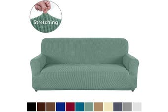 (Sofa, Matcha Green) - AUJOY Couch Cover Stretch 1-Piece Sofa Slipcover for 3 Cushion Couch Jacquard Spandex Fabric Furniture Protector with Anti-Slip Foams (Sofa, Matcha Green)