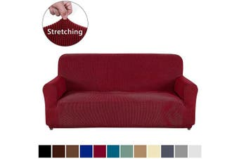 (XL Sofa, Wine Red) - AUJOY Couch Cover Stretch 1-Piece Oversized Sofa Slipcover Jacquard Spandex Fabric Furniture Protector with Anti-Slip Foams (XL Sofa, Wine Red)