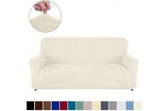 (Sofa, Natural) - AUJOY Couch Cover Stretch 1-Piece Sofa Slipcover for 3 Cushion Couch Jacquard Spandex Fabric Furniture Protector with Anti-Slip Foams (Sofa, Natural)