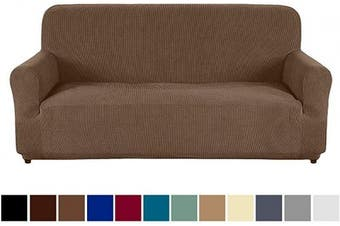 (Sofa, Light Coffee) - AUJOY Couch Cover Stretch 1-Piece Sofa Slipcover for 3 Cushion Couch Jacquard Spandex Fabric Furniture Protector with Anti-Slip Foams (Sofa, Light Coffee)