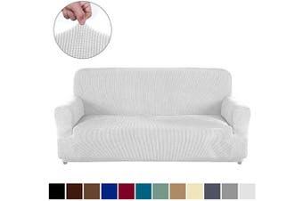 (XL Sofa, White) - AUJOY Couch Cover Stretch 1-Piece Oversized Sofa Slipcover Jacquard Spandex Fabric Furniture Protector with Anti-Slip Foams (XL Sofa, White)
