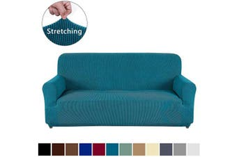 (Sofa, Blackish Green) - AUJOY Couch Cover Stretch 1-Piece Sofa Slipcover for 3 Cushion Couch Jacquard Spandex Fabric Furniture Protector with Anti-Slip Foams (Sofa, Blackish Green)