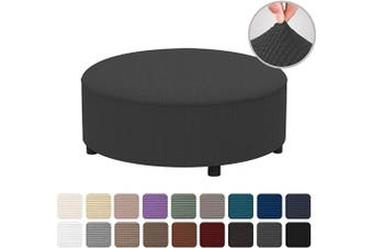 (R20, Dark Gray) - Easy-Going Stretch Ottoman Cover Folding Storage Stool Furniture Protector Soft Rectangle slipcover with Elastic Bottom (R20,Dark Grey)