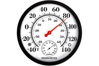 (Black) - MIKSUS 25cm Premium Large Wall Thermometer Hygrometer Indoor Outdoor (Upgraded Accuracy and Design)