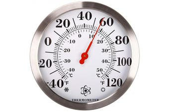 (Stainless Steel) - MIKSUS 30cm Premium Steel Large Wall Thermometer Indoor Outdoor (Upgraded Accuracy and Design)