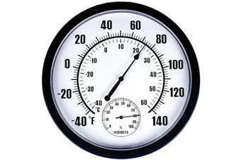 (ordinary) - Thermometer Indoor Outdoor 25cm Patio Large Wall Thermometer and Hygrometer,No Battery is Required to Let You to See The Temperature and Humidity of The Day from a Distance