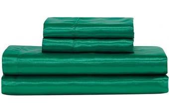 (King, Hunter Green) - Satin Sheet Set Solid Colour Super Soft Touch Bridal Cosy Adorable Deep Pocket New (Hunter Green, King)