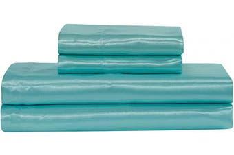 (King, Aqua Blue) - Home Collection Satin Sheet Set Solid Colour Super Soft Touch Bridal Cosy Adorable Deep Pocket New (Aqua Blue, King)