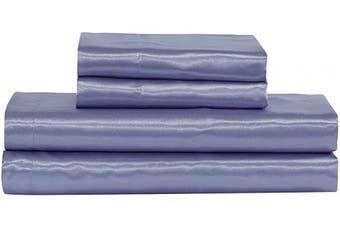 (King, Lilac) - Home Collection Satin Sheet Set Solid Colour Super Soft Touch Bridal Cosy Adorable Deep Pocket New (Lilac, King)